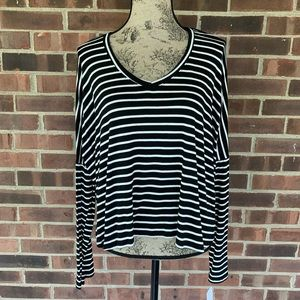 NWT Nordstrom PST Black white striped tee